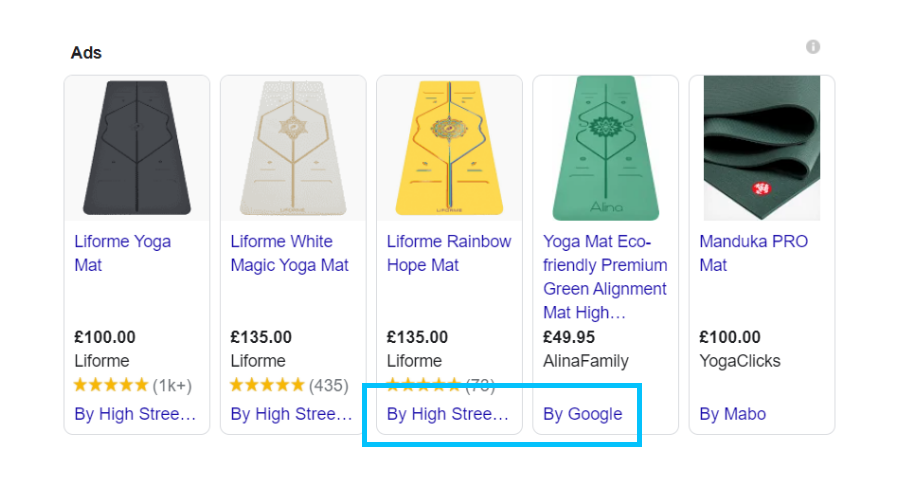The CSS name is displayed on shopping ads in Google search results